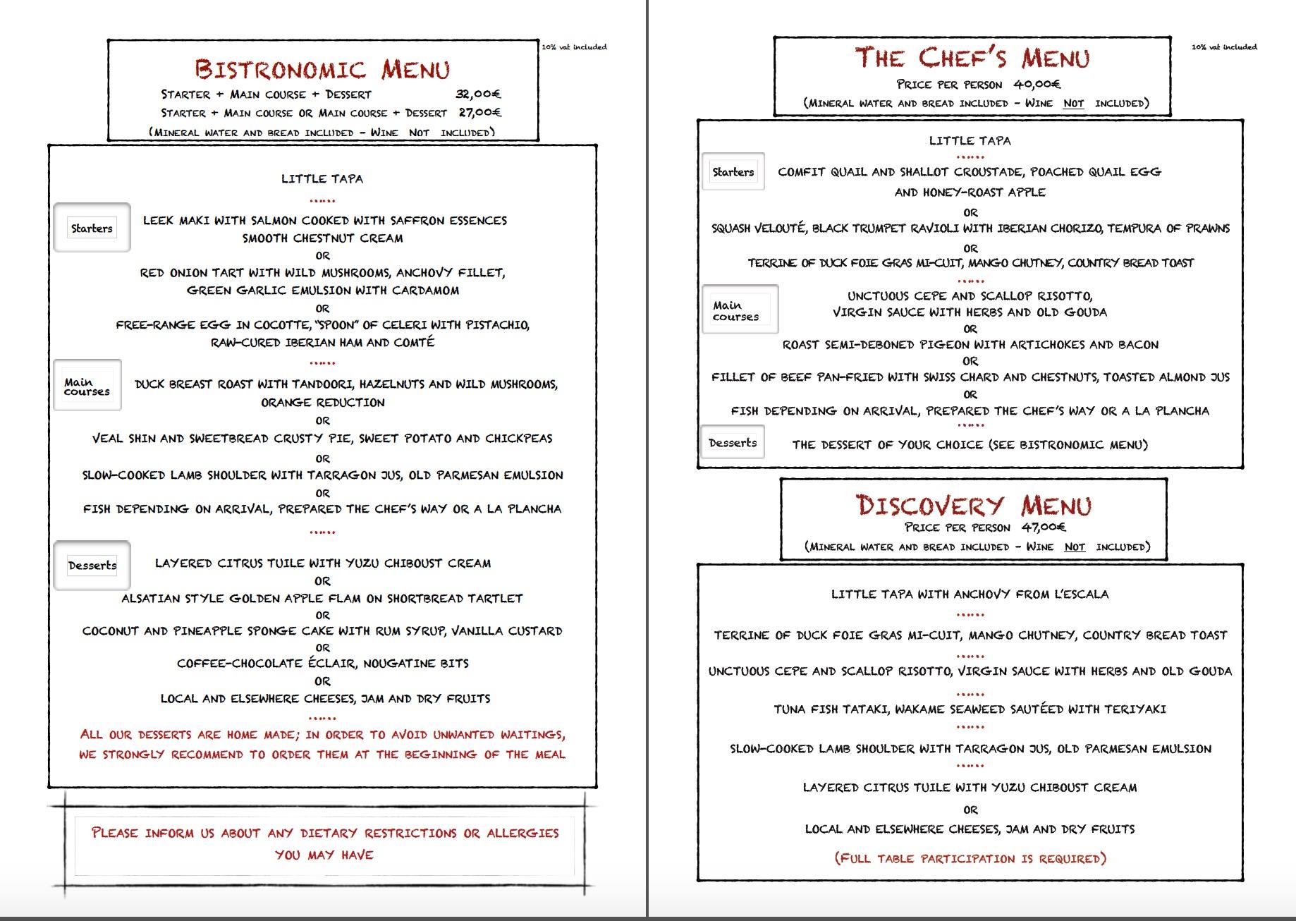 Autumn menu 2017