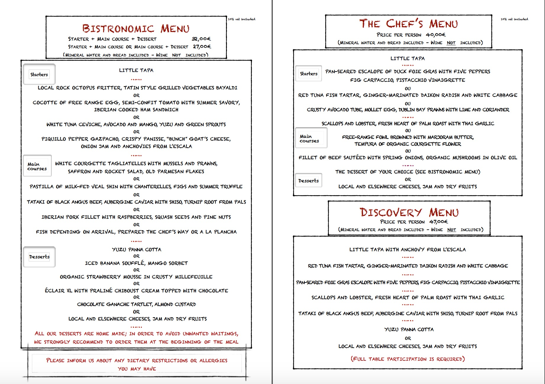 Summer menu 2017